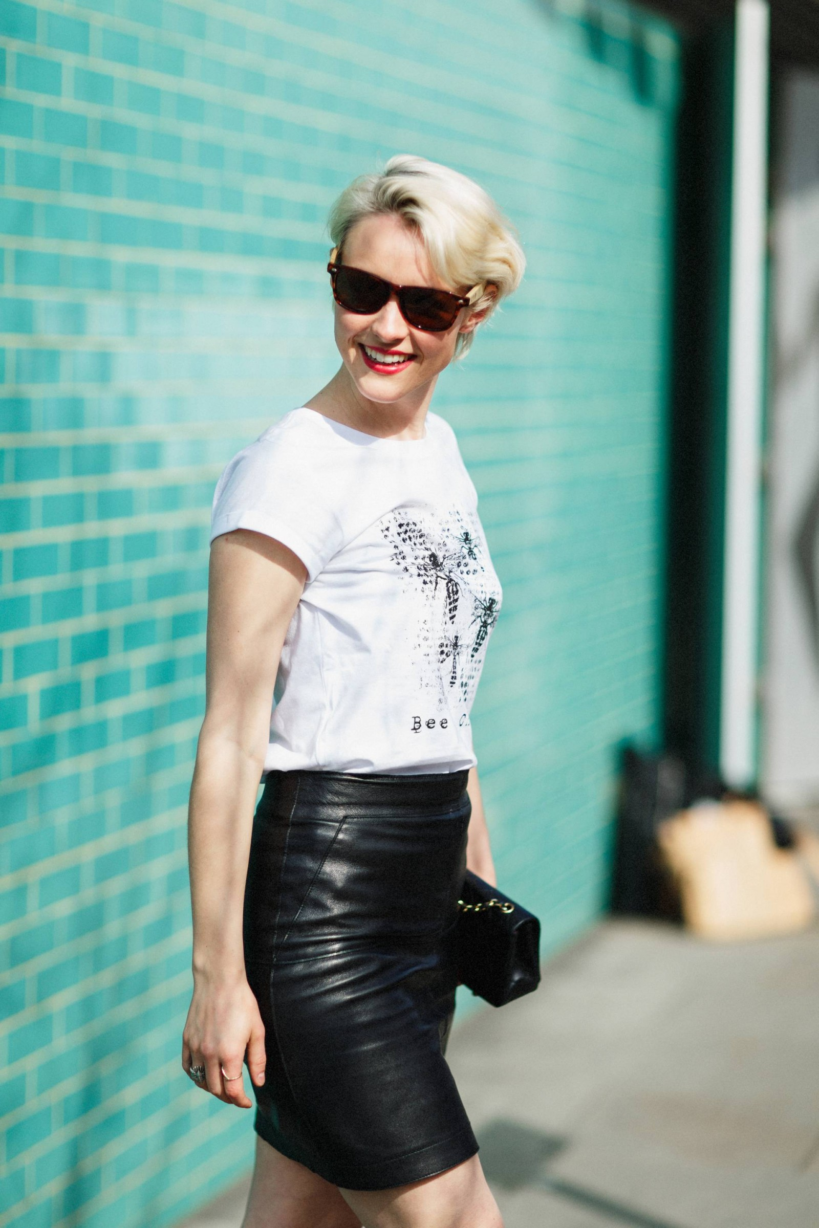 Kate Arnell in organic cotton tee by Deborah Campbell Atelier.